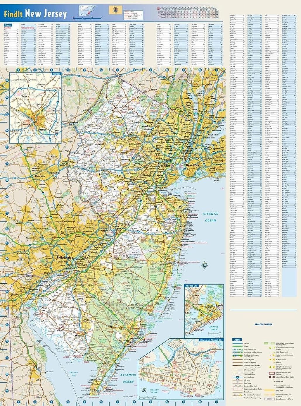 New Jersey State壁マップ?–?18.5?X 25インチ?–?紙?–?フラットTubed