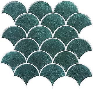 FUNWALTILES Fish Scale Design Premium Anti Mold Peel and Stick Wall Tile Backsplash,10X10in,4Sheets,Green