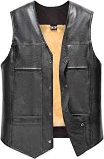 Elderly Mens Winter Leather Vest Soft Warm Thick Waistcoat Sleeveless Front Snap V Collar Jacket