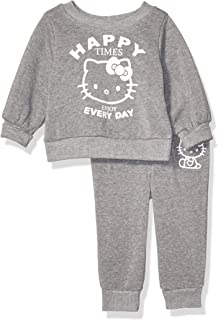 Hello Kitty Baby Girls 2 Piece Sweatshirt and Pant Active Set, Heather Gray, 24M