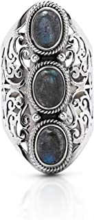 Labradorite 3 Stones Vintage Gipsy Lace Ring 925 Sterling Silver US Size 6 7 8 9 10