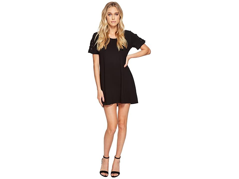 Michael Stars Elevated French Terry Lace-Up Sleeve Dress (Black) Women