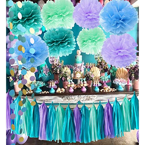 Under The Sea Party Supplies Mermaid Decorations Teal Purple Blue Mint Tissue Pom Poms First