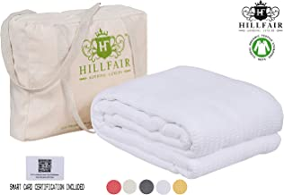 HILLFAIR 100% Certified Organic Cotton Winter Blankets- Queen Size Bed Blankets- All Season Cotton Blanket- White Queen Cotton Blanket- Soft Multipurpose Queen Blankets - Organic Cotton Bed Blankets