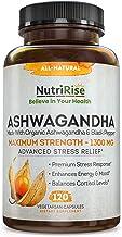 Ashwagandha 1300mg Made with Organic Ashwagandha Root Powder & Black Pepper Extract - 120 Capsules. 100% Pure Ashwagandha ...