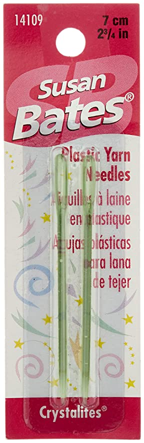 Susan Bates Crystallites Plastic Yarn Needle, 2-3/4-Inch, 2 Per Package - colors may vary