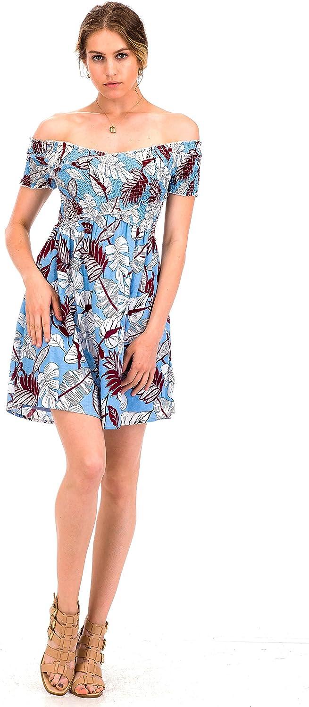 Malibu Days Leaf Floral Print Ruched Off Shoulder Summer Casual Short Mini Dress