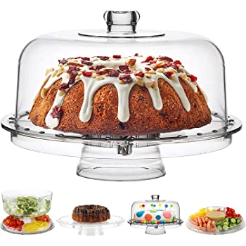 Fing Cake Stand with Dome Cover (6 in 1) Multi-Functional Serving Platter and Cake Plate - Use as Cake Holder, Salad Bowl, Platter, Punch Bowl, Desert Platter, Nachos & Salsa Plate, (Acrylic)