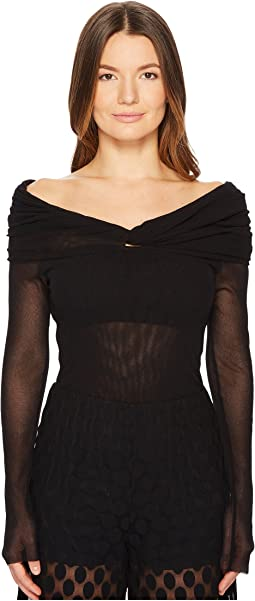 FUZZI - Long Sleeve Off Shoulder Ruched Top
