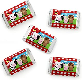 Farm Animals - Mini Candy Bar Wrapper Stickers - Barnyard Baby Shower or Birthday Party Small Favors - 40 Count