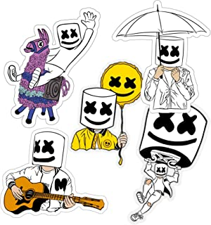 "Marshmello 5 Stickers Bundle Sizes 3""/4""/6"" for laptop, skateboard, car, bumper"