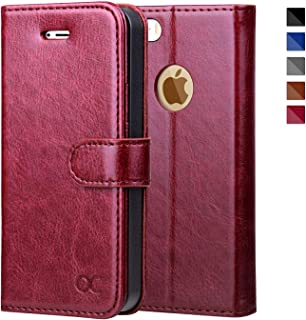 OCASE iPhone 5 Case iPhone 5S Case [Card Slot] [Kickstand] Leather Wallet Flip Case for iPhone 5 / 5S / SE Devices - Burgundy