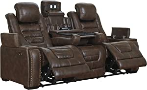 Game Zone Contemporary Faux Leather Power Reclining Sofa - Adjustable Headrest