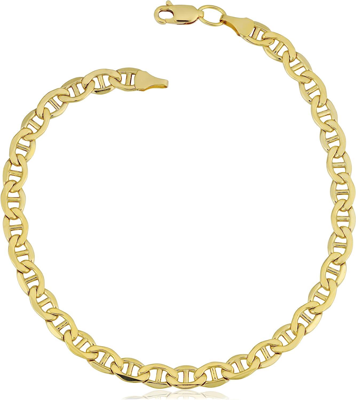 Kooljewelry 21k Yellow Gold Filled Mariner Link Chain Bracelet 21 mm, 21.21  inch