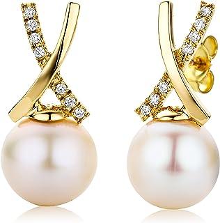 Miore M0843AY - Pendientes de mujer de oro amarillo (18k) con 14 diamantes (2 perlas), 2 cm
