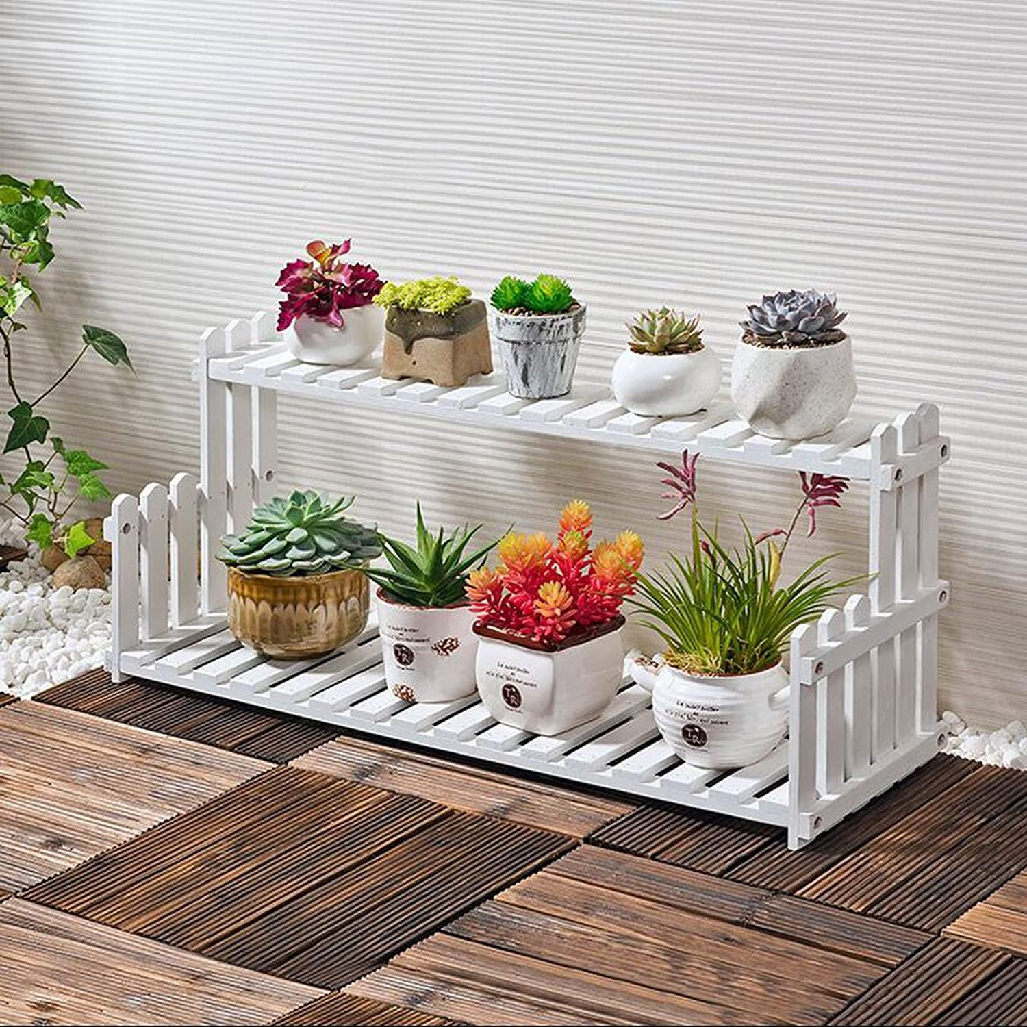 Flower stand Solid Wood flower stand Indoor Desktop Balcony flower stand Multi-Layer Floor Shelf Three-Dimensional flower stand (color   C, Size   L)