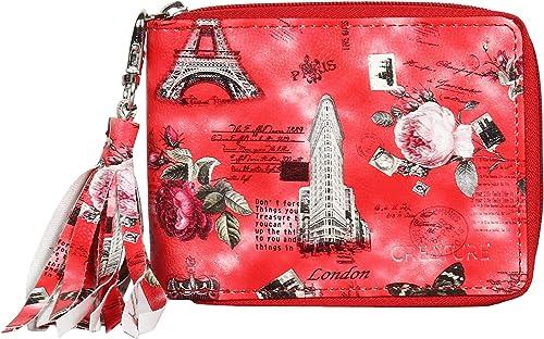 Red Color Designer Floral Print Zipper Wallet For Girls Color Red ZWL 010