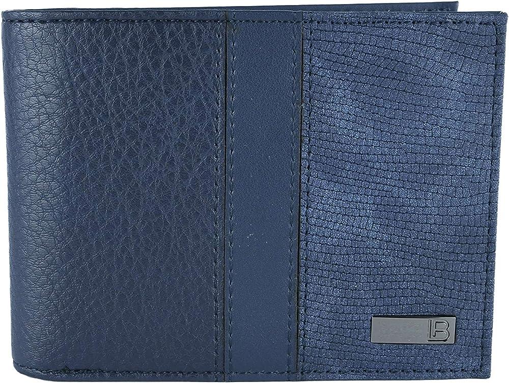 Laura biagiotti portafoglio porta carte di credito per uomo esterno ecopelle interno vera pelle blu11