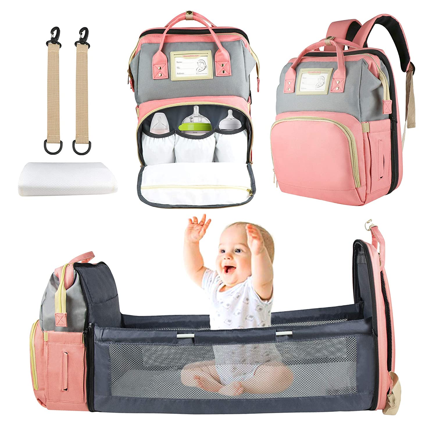 Diaper Bag Backpack, Nanssigy Travel Foldable Baby Bed with Bassinet, Waterproof Portable Nappy Bag for Baby Girl with Changing Station and USB Port, Multi-Function Mommy Bag Organizer w/Crib (Pink)