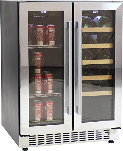 high quality Sunnydaze Beverage popular and Wine Cooler Dual Zone Side-by-Side Refrigerator with Independent Temperature Control and LED Light - 20-Bottle and 63-Can discount Capacity outlet sale