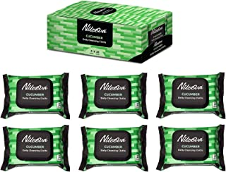 Nileeva Visage Collection (Cucumber) Daily Cleansing Cloths & Wipes, Refill Pack, 25 Count (pack of 6) = 150 wipes