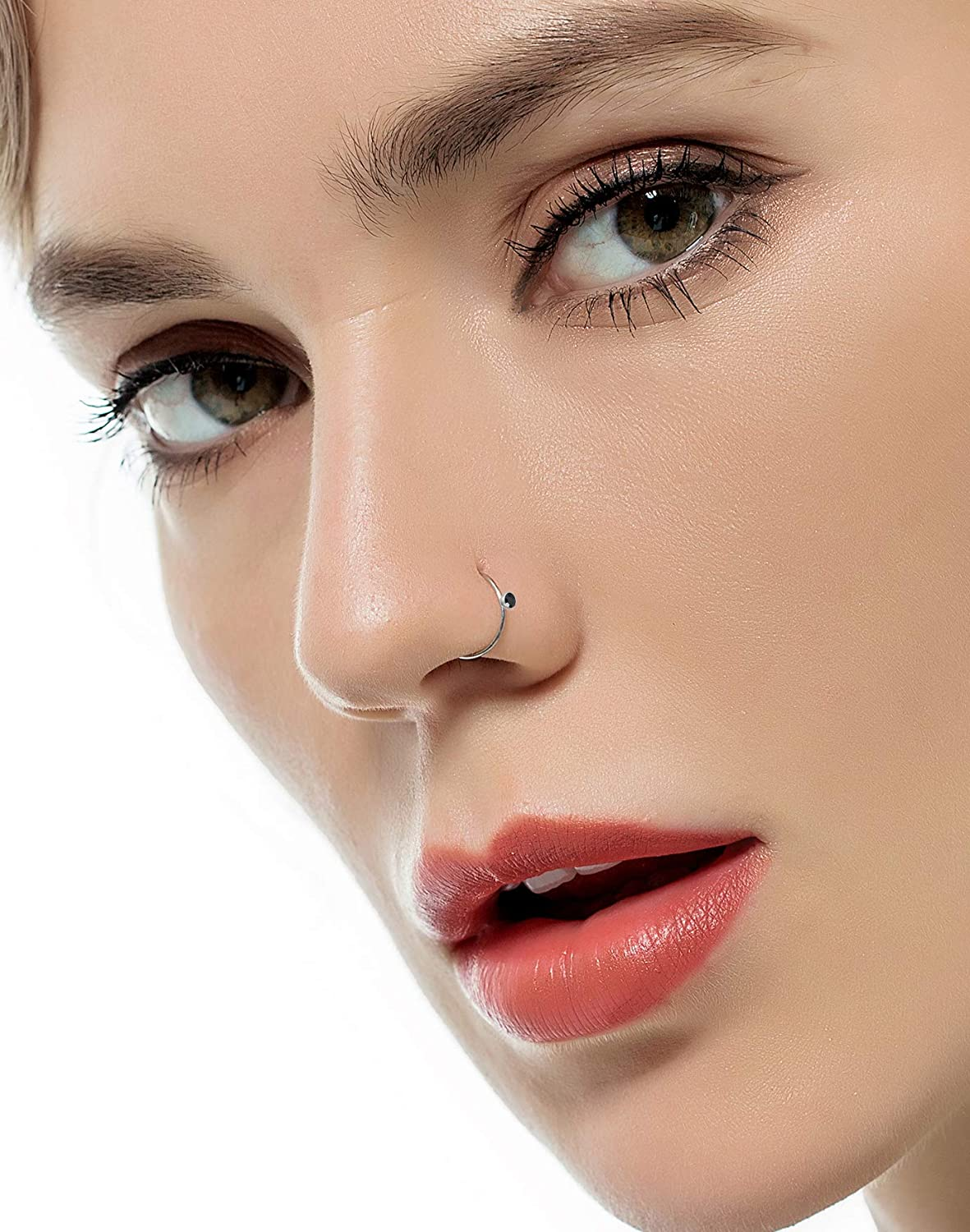 Tornito 100Pcs Stainless Steel Bone Nose Studs Hoop Nose Rings Set Multicolor Cubic Zirconia Hoop Tragus Cartilage Nose Ring Labret Nose Piercing Pin Jewelry for Women Men 1.5mm 2mm 2.5mm 20G 22G