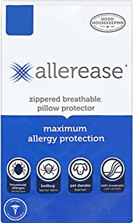 """AllerEase Maximum Allergy Protection Pillow Protectors – Hypoallergenic, Zippered, Allergist Recommended, Prevent Dust Mites, Bed Bugs and Other Allergens, Standard/Queen/Jumbo Sized, 20"""" x 28"""""""