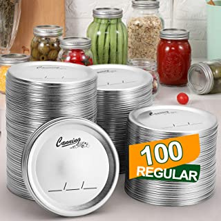 100 PCS, Regular Mouth Canning Lids for Ball, Kerr Jars - Split-Type Metal Mason Jar Lids for Canning - Food Grade Materia...