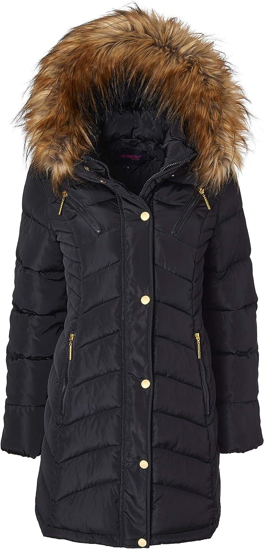 Women Long Quilted Down Alternative Plush Lined Puffer Jacket Coat Fur Trim Hood