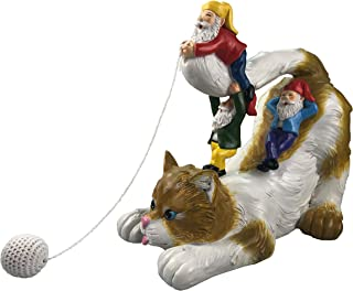 by Mark & Margot - Cat Playing with Garden Gnomes Cotton String Ball Statue Figurine - Best Art Décor for Indoor Outdoor Home Or Office (One Size, Playing Cat)