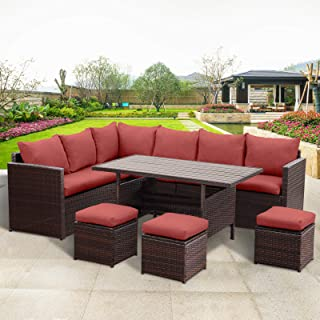 Wisteria Lane Patio Furniture Set,7 PCS Outdoor Conversation Set All Weather Wicker Sectional Sofa Couch Dining Table Chair with Ottoman,Red