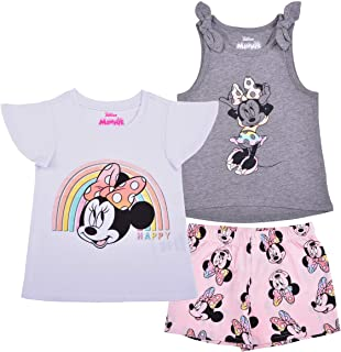 Disney 3 Pack Minnie Mouse Girl's Short Sleeves Tee, Sleeveless Shirt and Shorts Set for Kids