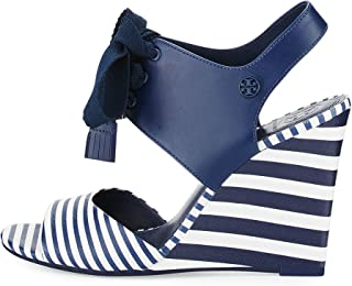 140f5f0bd26 Tory Burch Maritime Striped Leather 100MM Wedges Women s Shoes