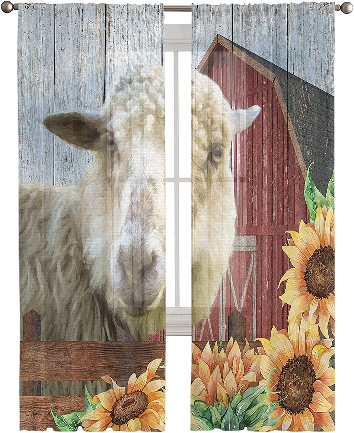 overseas Special price CHARMHOME Modern Sheer Curtains Privacy Long Barn Inch Idy 52x84