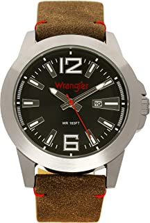 Wrangler Men's Watch, 48mm with Silver Case, Second Hand and Date Function, Water Resistant