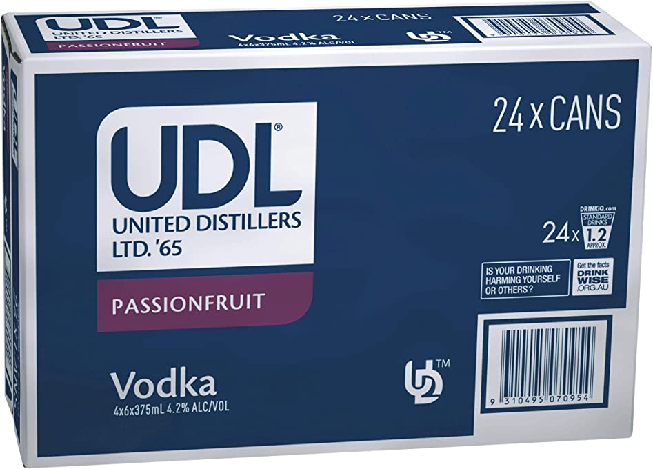 UDL Passionfruit Vodka 375ml Cans (Pack of 24)