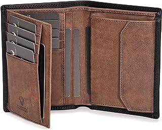 DONBOLSO® Portefeuille Wien I Grand Portefeuille pour Homme I Portemonnaie en Cuir avec Protection RFID I Noir-Brun
