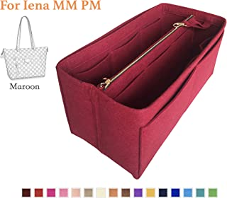Customizable Iena Purse Insert (3mm Felt, Detachable Pouch w/Metal Zip), Felt Tote Bag Organizer
