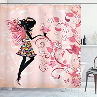 Ambesonne Floral Shower Curtain, Angel Girl Silhouette with Blooming Rainbow Colored Flowers on Pastel Pink Backdrop, Cloth Fabric Bathroom Decor Set with Hooks, 70