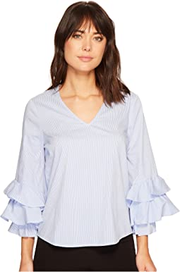 Cotton Stripe Ruffle Elastic Cuff Blouse