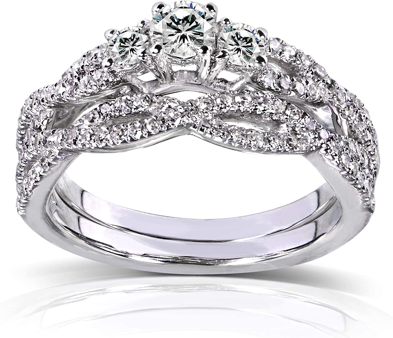 Kobelli Round Diamond Braided Bridal Set 1/2 Carat (ctw) in 14k White Gold