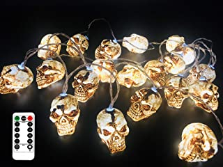 FENWOOH 11.5 Feet Battery Operated Halloween String Light with 20 LED Skulls, 8 Modes Dimmable Waterproof Battery Operated (White)