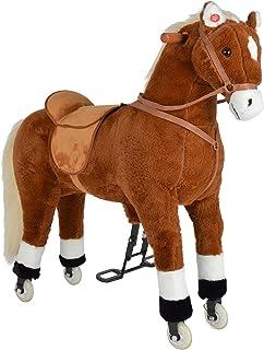 Pink Papaya XXL Rijpaard op Wielen Amigo, ~ 90 cm Speelpaard, Rijdend Hobbelpaard, Speelgoed Pluchen Paard om op te Zitten...