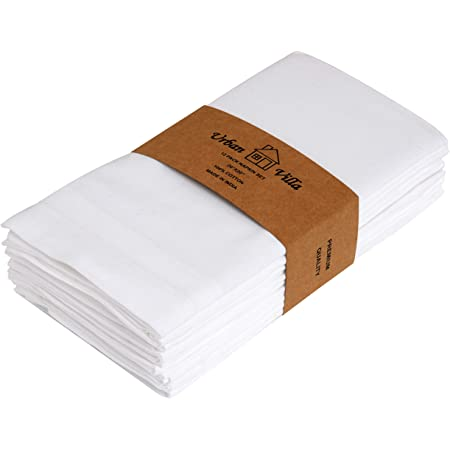 Cleverdelights 20 White Hemstitch Dinner Napkins 12 Pack 55 45 Linen Cotton Blend Home Kitchen
