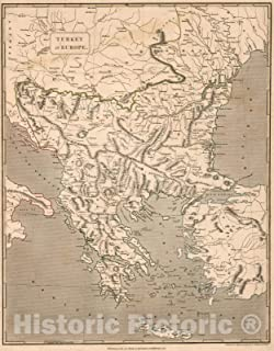 Historic Map - 1817 Turkey in Europe. - Vintage Wall Art - 35in x 44in