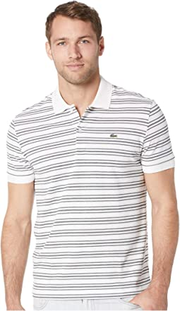Short Sleeve Regular Fit Petit Pique Polo w/ Fine Stripes