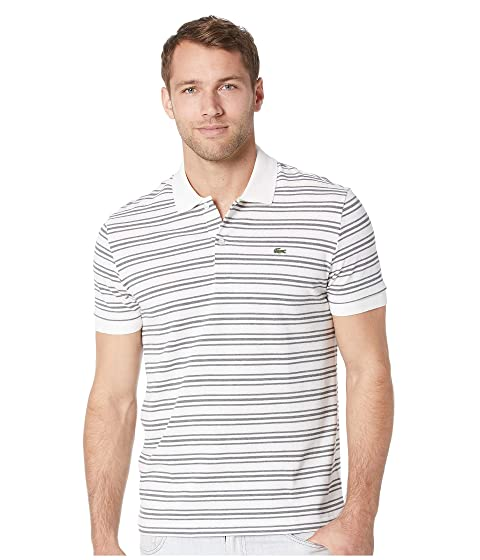 Lacoste Short Sleeve Regular Fit Petit Pique Polo w  Fine Stripes at ... c0639caac14