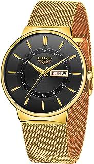 LIGE Relojes para Hombre Impermeable Moda Analógica Simple Quart Slim Relojes Minimalistas para Hombres Vestido Deportivo ...
