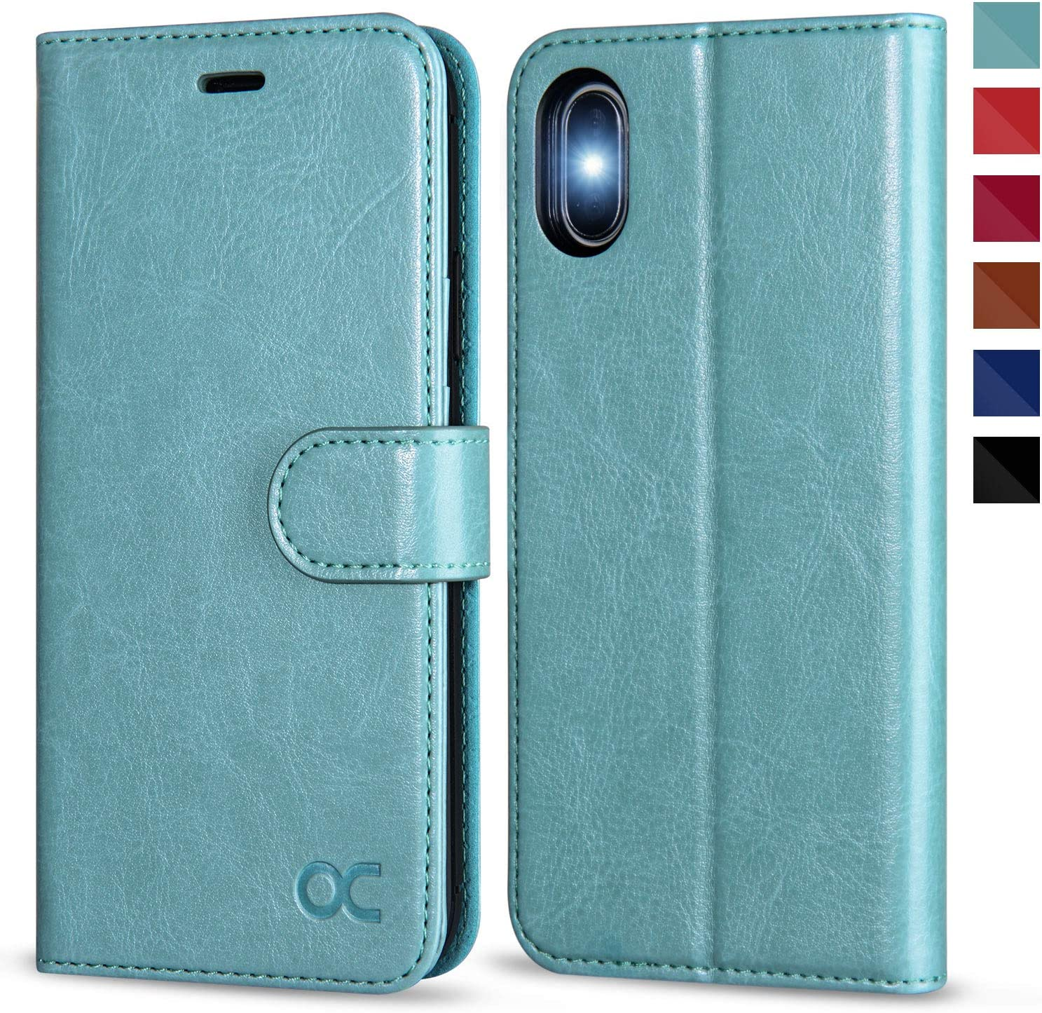 OCASE iPhone X Wallet Case, iPhone 10 Case [ Wireless Charging ] [ Card Slot ] [ Kickstand ] Leather Flip Wallet Phone Cover Compatible for iPhone X/iPhone 10 - Mint Green