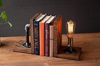 Industrial Steampunk bookend table pipe lamp with Classic Edison bulb